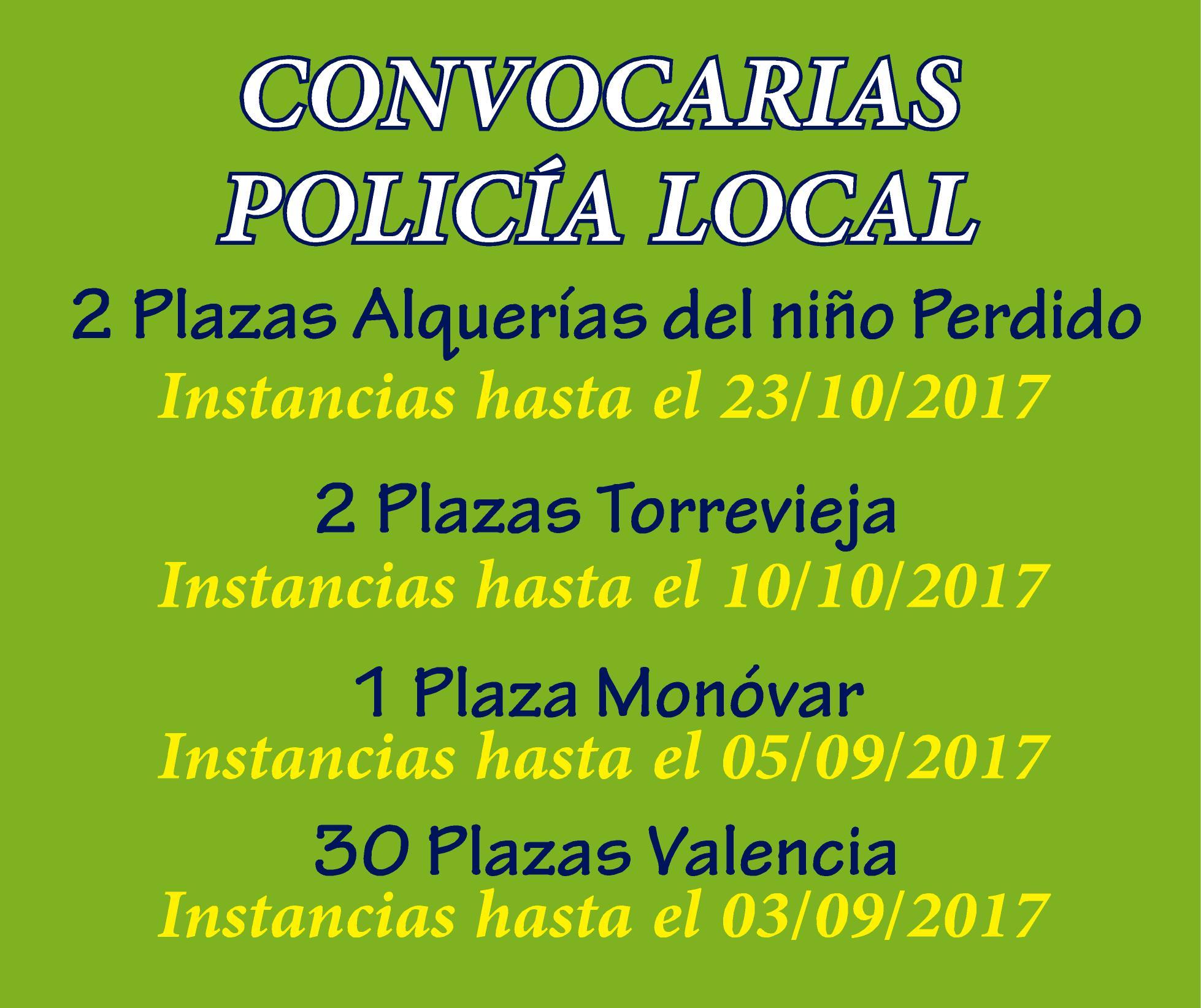 Convocatorias Policía Local Comunidad Valenciana