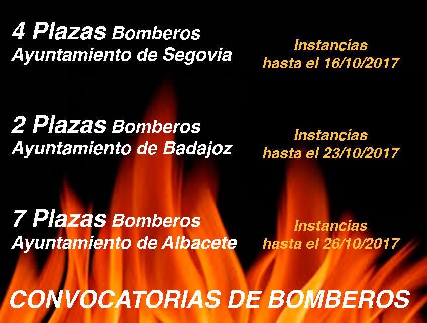 Convocatoria Bomberos Albacete Badajoz y Segovia