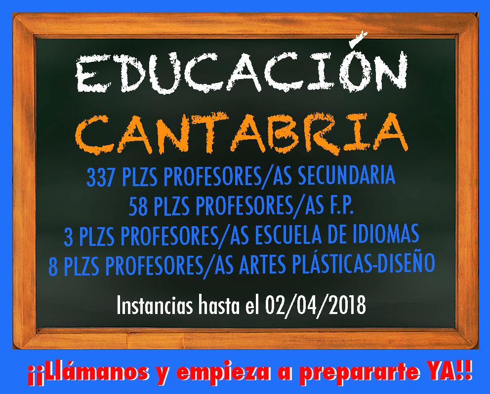Convocatoria Educación 2018 Cantabria