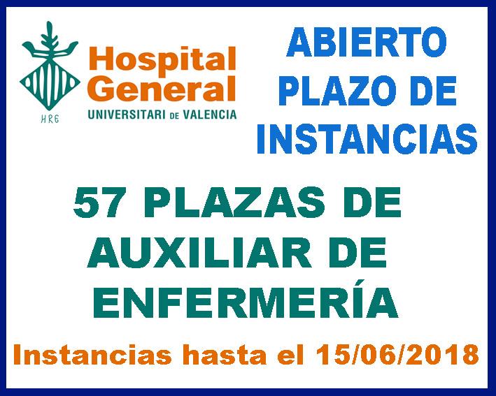 Convocatoria Auxiliar Enfermería Hospital General Valencia